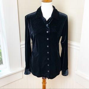 Black velvet long sleeve button up shirt
